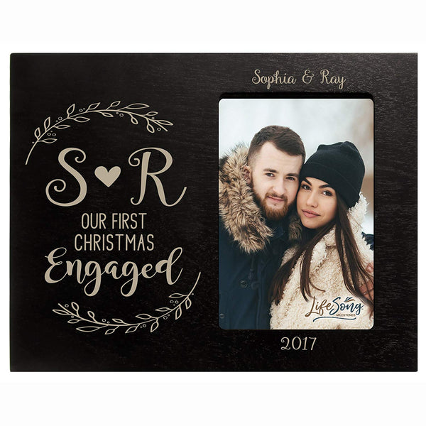 Personalized First Christmas Engaged with Heart photo frame holds 4x6 photograph Exclusively by LifeSong Milestones.