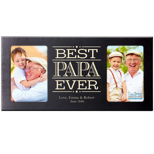 Personalized Gifts for Dad Fathers day gift Custom picture frame Best Papa Ever holds 2 4x6 photos