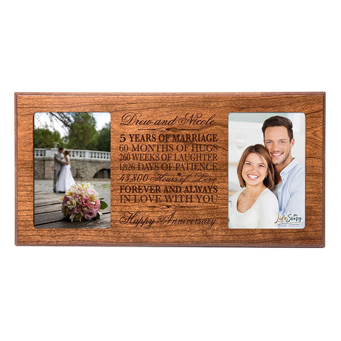 Personalized 5th Anniversary Double Photo Frame - Happy Anniversary Cherry