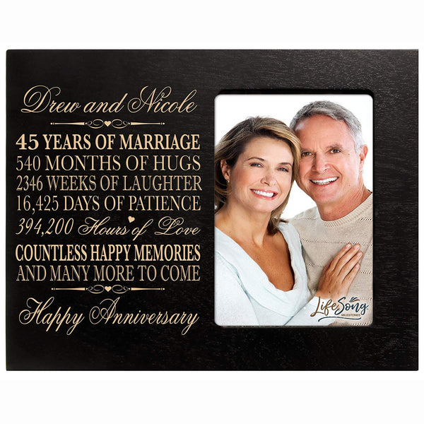 "Personalized 45Year Wedding Anniversary Frame Gift for him her couple Custom Engraved 45th year wedding celebration for husband or wife Photo Frame Holds 1 4x6 Photo 8"" H X 10"" W"