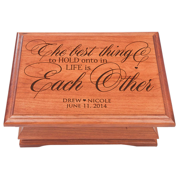 Personalized Jewelry Storage Organizer chest box Anniversary Gift ideas for Husband wife Cherry wood Keepsake Box for Her or Him, The Best Thing to hold Onto in Life is Each Other Made in USA