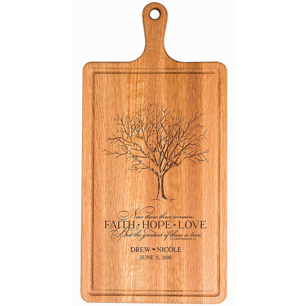 Personalized Family Wedding Cutting Board Gift - FAITH HOPE LOVE