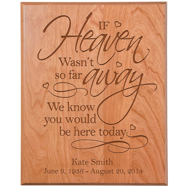 Personalized Wedding Memorial Gift, Sympathy Wall Plaque, If Heaven Wasn't So Far Away We Know You Would Be Here, Custom Engraved Plaque measures 12x15 by LifeSong Milestones USA Made