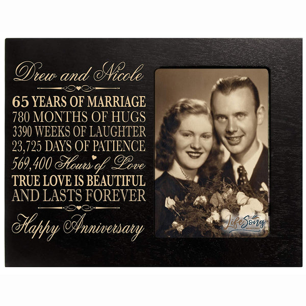 "Personalized 65th Year Wedding Anniversary Gift for Couple Custom engraved 65th Wedding Anniversary Celebration Gift Frame Holds 1 4x6 Photo 8"" H X 10"" W"