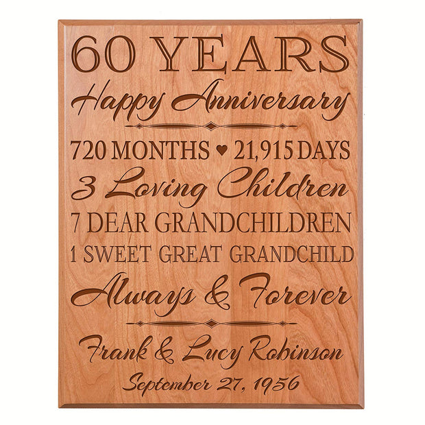 Personalized 60th Anniversary Wall Plaque - True Love Lasts Forever Cherry Solid
