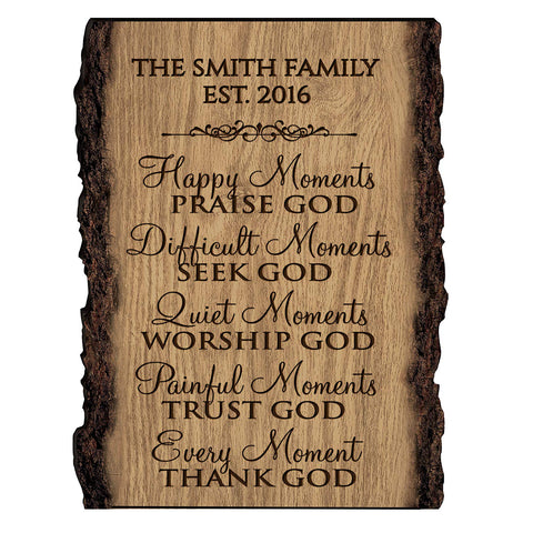 Personalized Engraved Wooden Bark Family Name Sign - Established Date