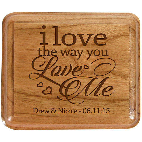 Personalized Double Cherry Wooden Double Wedding Ring Box for Ceremony I Love the Way You Love Me ,Custom Engagement Ring Box Holder By LifeSong Milestones
