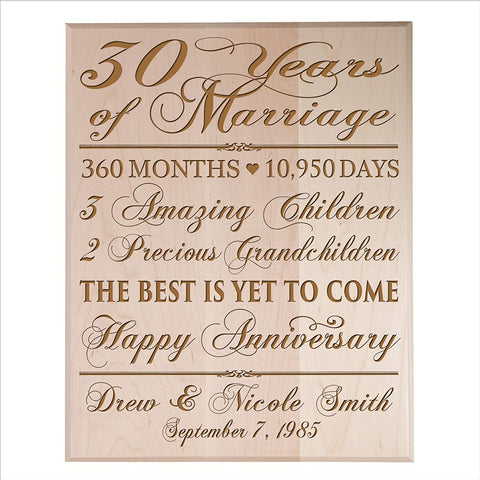 Personalized 30th Anniversary Wall Plaque - The Best Is Yet To Come Maple