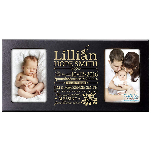 Personalized Baby Announcement Double Photo Frame - Sweetest Little