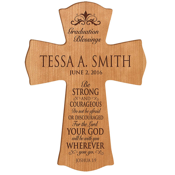 "LifeSong Milestones Personalized Graduation gifts for graduate ideas for men and women custom wall cross Be Strong and Courageous Joshua 1:9 (8.5"" x 11"", Cherry)"