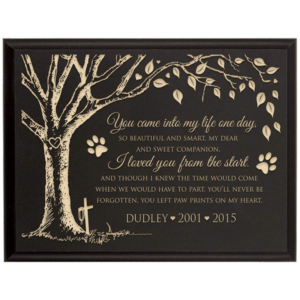 Personalized Pet Memorial Gift, Sympathy Wall Plaque, You Came Into My Life One Day So Beautiful and Smart, Custom Engraved Plaque measures 6x8 by LifeSong Milestones USA Made