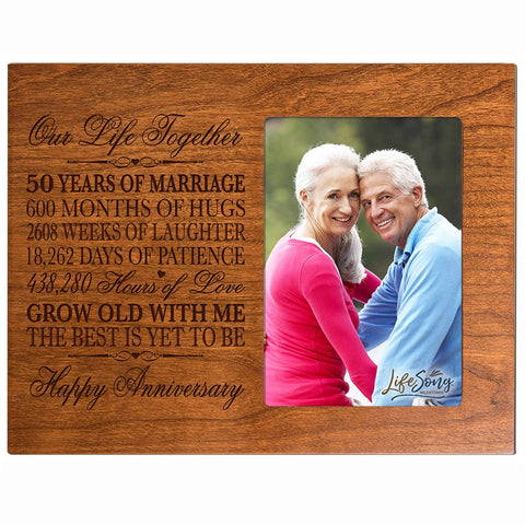 "50th Year Wedding Anniversary Gift for Couple Custom engraved Wedding Anniversary Gift Celebration Frame Holds 1 4x6 Photo 8"" H X 10"" W"