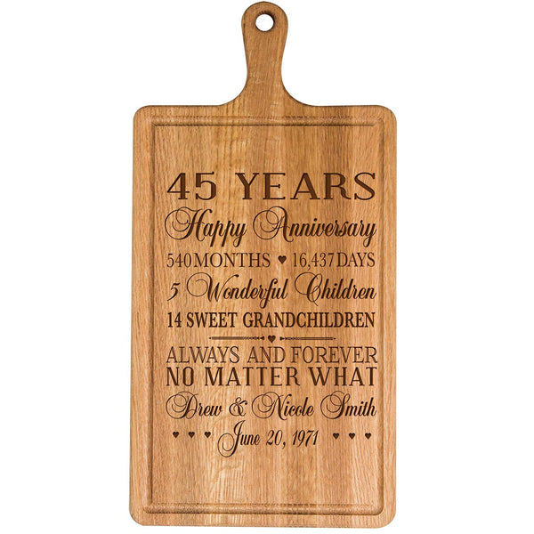 Personalized 45th Year Anniversary Gift for Him Her wife husband Couple Cheese Cutting Board Customized with Year Established dates to remember for Wedding Gift ideas by LifeSong Milestones