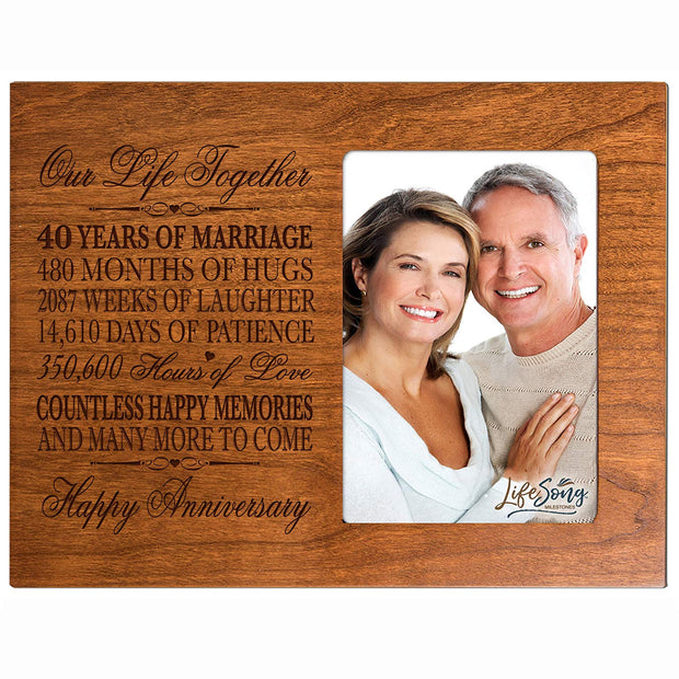 40th Anniversary Photo Frame - Our Life Together Cherry