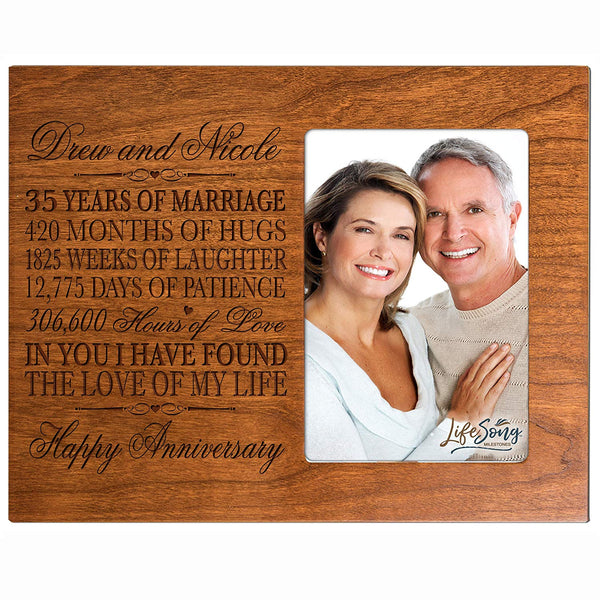 "Personalized 35th Year Wedding Anniversary Picture Frame Gift for Couple 35th Anniversary Gifts for Her 35th Wedding Anniversary Gifts for Him Photo Frame Holds 1 4x6 Photo 8"" H X 10"" W (Cherry)"