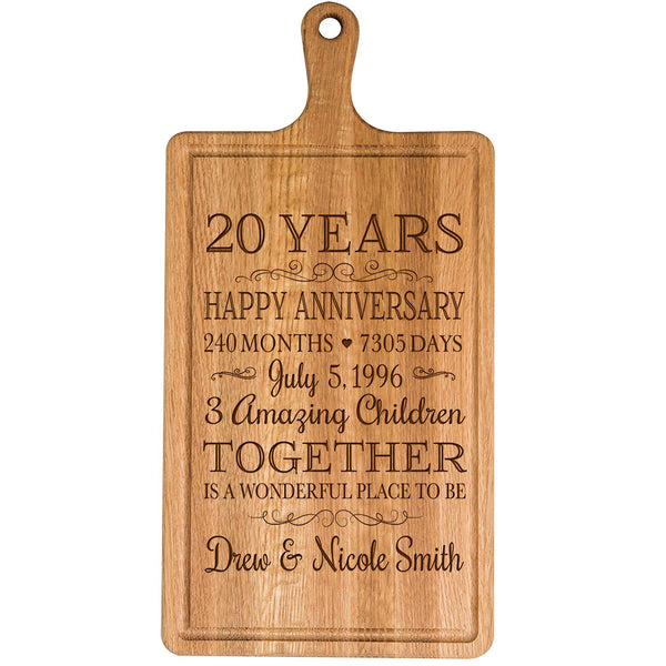 Personalized 20th Year Anniversary Gift for Him Her wife husband Couple Cheese Cutting Board Customized with Year Established dates to remember for Wedding Gift ideas by LifeSong Milestones
