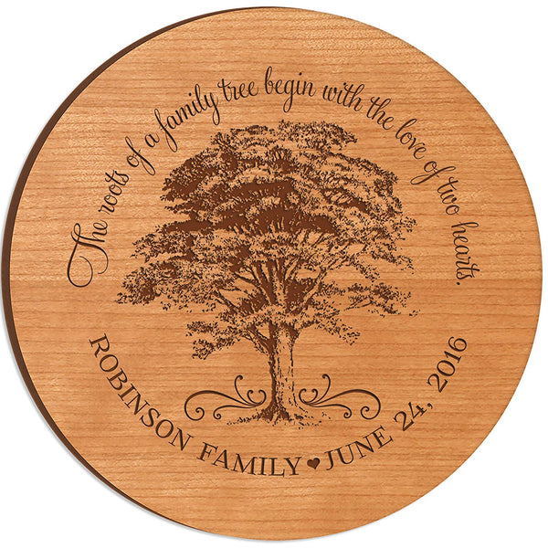 Personalized Anniversary Gifts with Family Established Year The roots of family tree begin with the love of two hearts 12 inch Lazy Susan Turntable server engraved by LifeSong Milestones