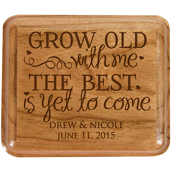 Personalized Double Cherry Wooden Double Wedding Ring Box for Ceremony Grow old with me the best is yet to come,custom Engagement Ring Box Holder By LifeSong Milestones