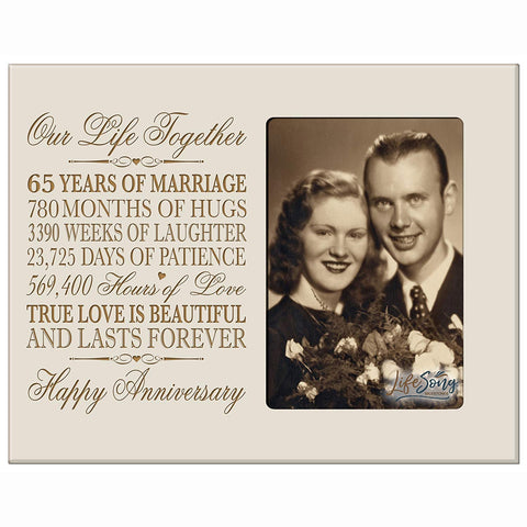 "65th Year Wedding Anniversary Gift for her him Couple 65 year Wedding Anniversary gifts for parents Celebration Gift picture Frame Holds 4x6 Photo 8"" H X 10"" W By LifeSong Milestones"
