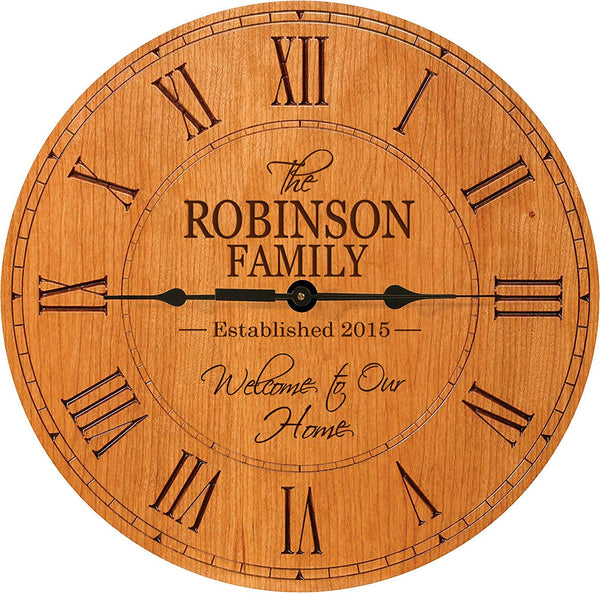 "Personalized Modern Decorative Wall clock Welcome to Our Home with Family last Name and Date Established Gift for Parents Anniversary 12"" by LifeSong Milestones"