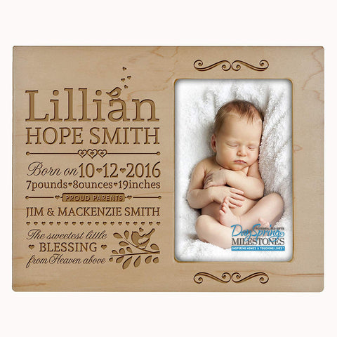 Personalized New Baby Photo Frame - The Sweetest Little Blessing Maple