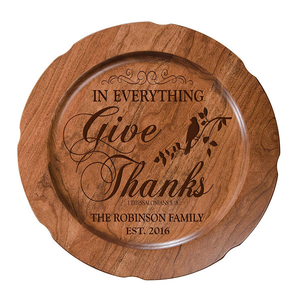 "Personalized In Everything Give Thanks Wedding Anniversary Gift for Her, Happy Anniversary for Him, 12"" plate Custom Engraved for Husband or Wife by LifeSong Milestones USA Made"