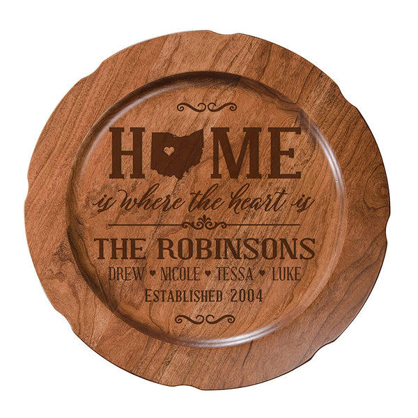 "Personalized Home is Where the HEART Is Wedding Anniversary Gift for Her, Happy Anniversary for Him, 12"" plate Custom Engraved for Husband or Wife by LifeSong Milestones USA Made"