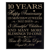 Personalized 10th Anniversary Wall Plaque - Happy Anniversary Black Veneer