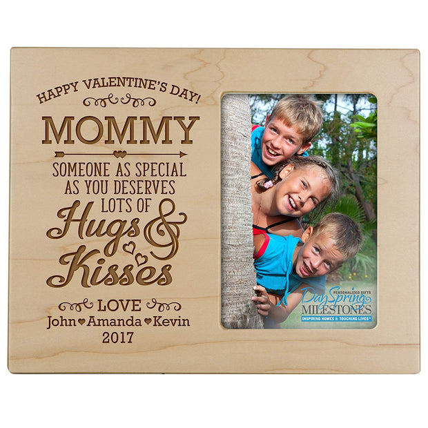 mommy hugs & kisses valentine's day photo frame picture maple