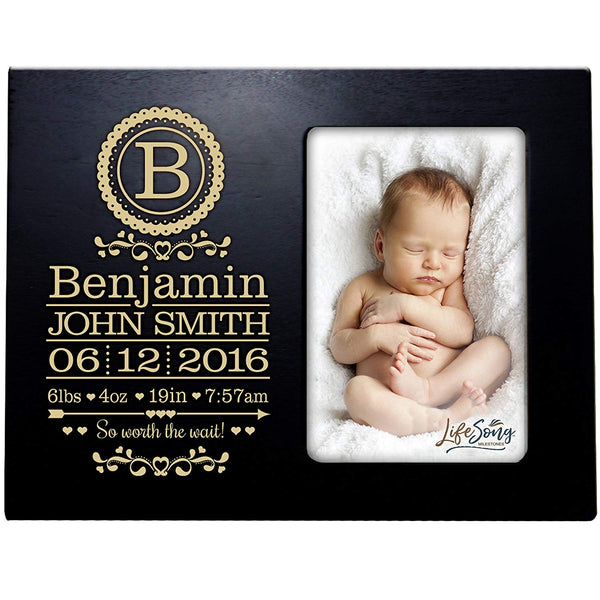 Personalized New Baby Photo Frame - So Worth The Wait Black