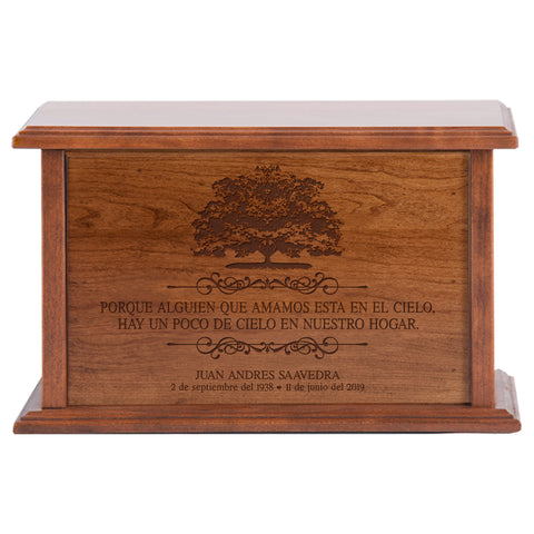 LifeSong Milestones Personalized Spanish Cremation Urn for Adult Humans With Cross Medium Cherry Finish Wooden Adult Urns For Human Ashes with Spanish Verse - 10.5 x 7.5 x 6.5
