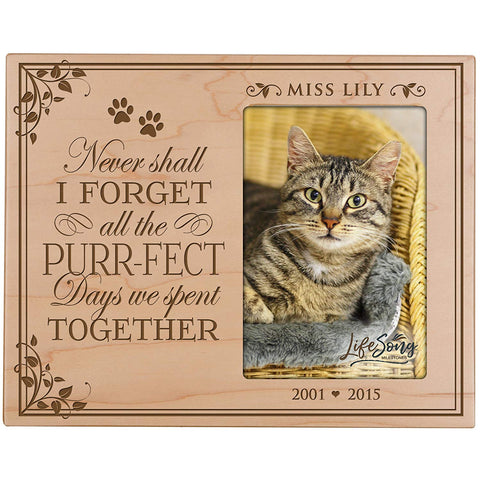 Custom Wooden Memorial 8x10 Picture Frame for Pet holds 4x6 photo Purrfect