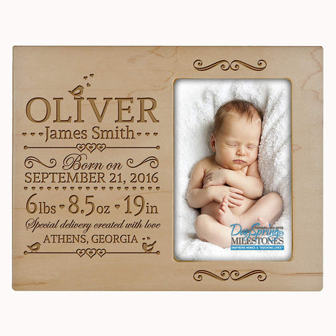Personalized New Baby Photo Frame - Special Delivery Made With Love Maple
