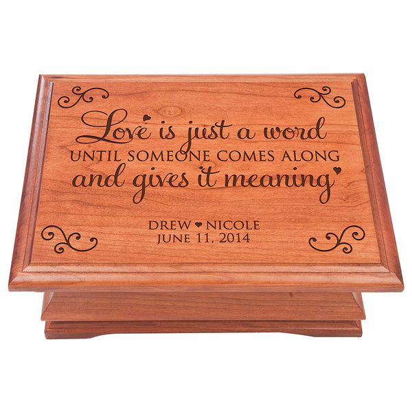 Personalized Jewelry Box organizer for Her or Him, storage keepsake chest Cherry Wood Love is Just a Word by LifeSong Milestones