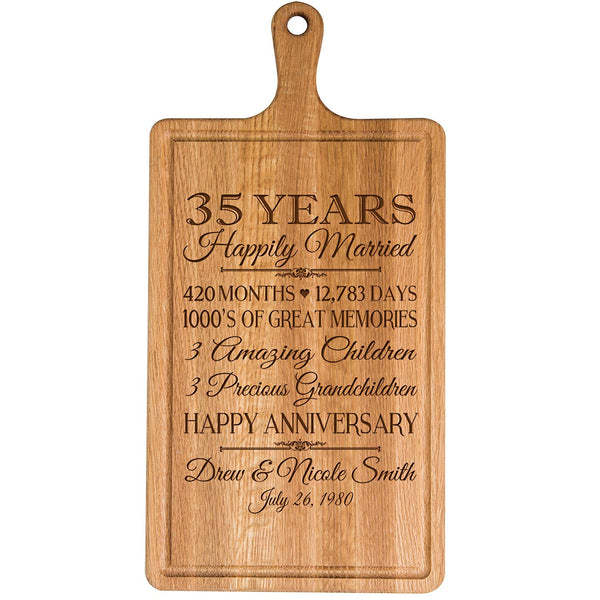 Personalized 35th Year Anniversary Gift for Him Her wife husband Couple Cheese Cutting Board Customized with Year Established dates to remember for Wedding Gift ideas by LifeSong Milestones