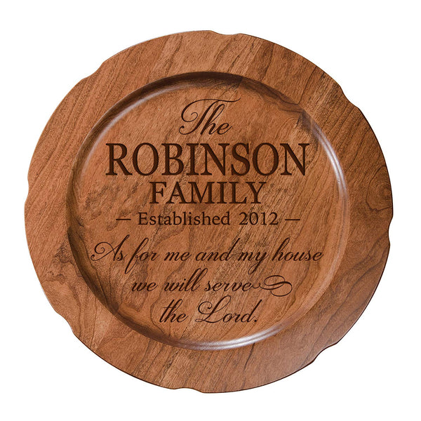 "Personalized As For Me and My House Wedding Anniversary Gift for Her, Happy Anniversary for Him, 12"" plate Custom Engraved for Husband or Wife by LifeSong Milestones USA Made"