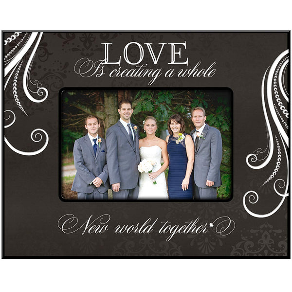 LifeSong Milestones Wedding Gift for Bride and Groom Couple Love Is Celebrating a Whole New Life Together Photo Frame 9.75 Inches Long X 7.75 Inches High