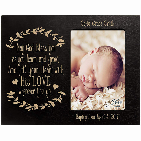 Personalized Baptized Photo Frame - May God Bless You black