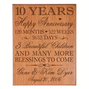 Personalized 10th Anniversary Wall Plaque - Happy Anniversary Cherry Veneer