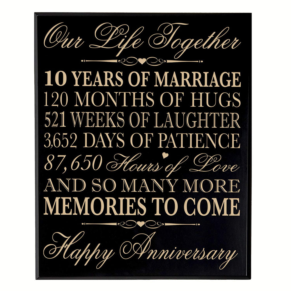 10th Wedding Anniversary Wall Plaque Gifts For Couple 10th