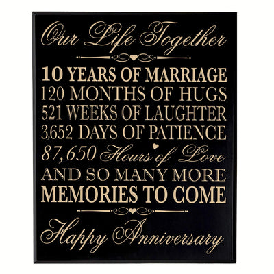 ten year gift tenth year 10th for couple wall plaque wall decor black