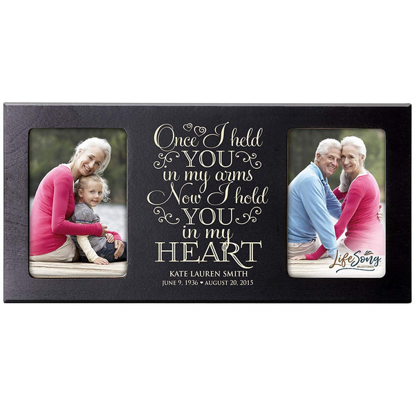Personalized Memorial Sympathy Picture Frame, Once I Held You In My Arms Now I Hold You In My Heart, Custom Frame Holds Two 4x6 Photos, Made In USA by LifeSong Milestones