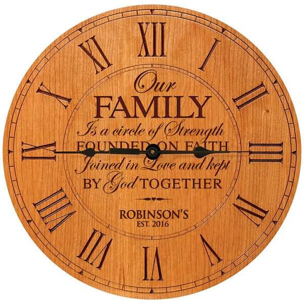 "Personalized Modern Decorative Custom Engraved Wall Desk Clock Our Family is a circle of Strength Wedding Gifts parents Grandparents Housewarming Gift for Couple 12""x12"" By LifeSong Milestonese"