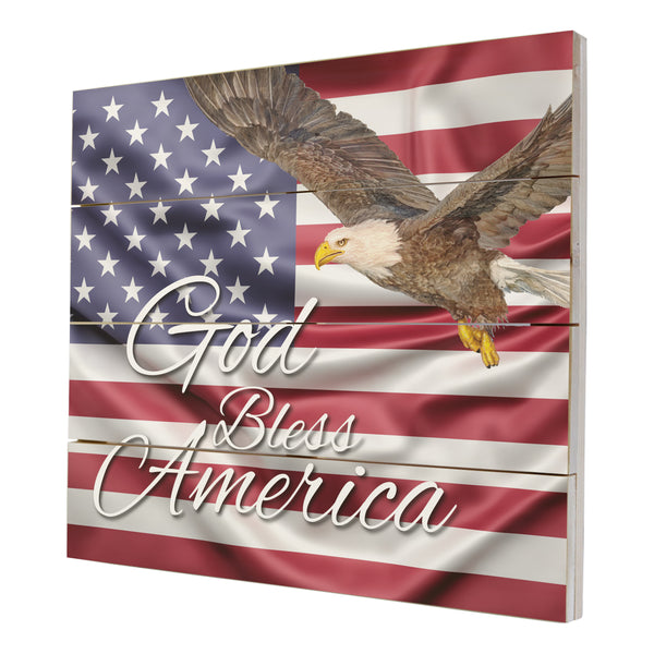 Wooden American Flag Patriotic Veteran Wall Sign Gift - God Bless