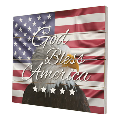 Wooden American Flag Patriotic Veteran Wall Sign Gift -God Bless Stars
