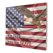Wooden American Flag Patriotic Veteran Wall Sign Gift Home Of The Free