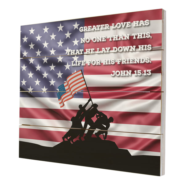Wooden American Flag Patriotic Veteran Wall Sign Gift - Greater Love