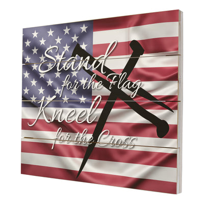 Wooden American Flag Patriotic Veteran Wall Sign - Stand For The Flag