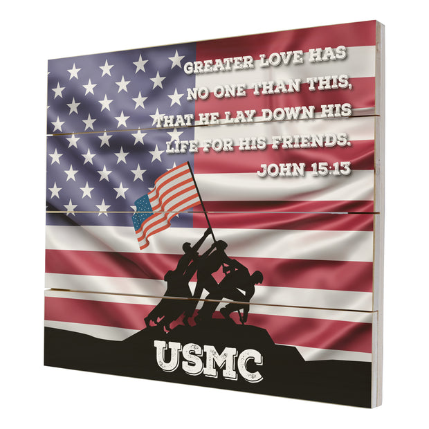 Wooden American Flag Patriotic Veteran Wall Sign Gift - Greater Love USMC