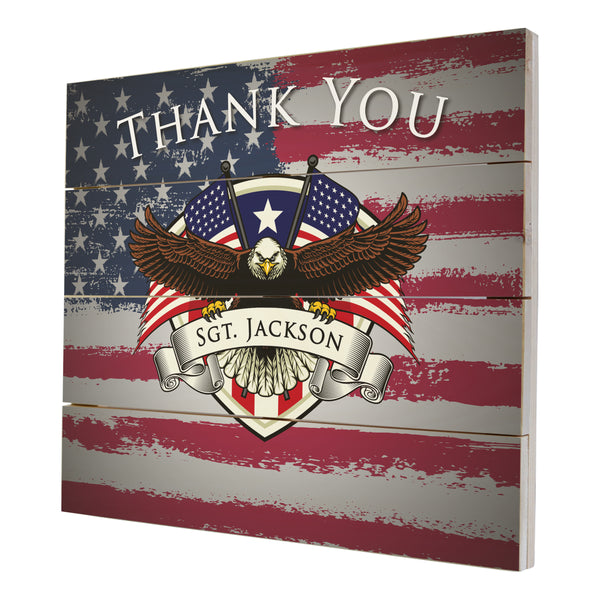 Personalized Wooden American Flag Patriotic Veteran Wall Sign Gift - Thank You